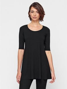 Eileen Fisher - Petite Scoop Neck Long Tunic with Elbow Sleeves in Viscose Jersey