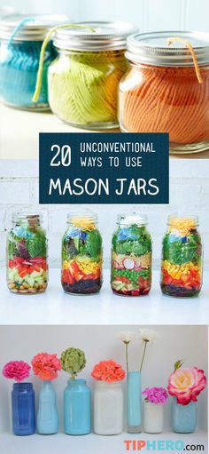 20 Unconventional Uses for Mason Jars | From lighting to vases to organization to gifts to ornaments, the creative ways you can use these handy glass containers are endless! So get your DIY hats on and get crafting with this collection of mason jar projects. #crafts