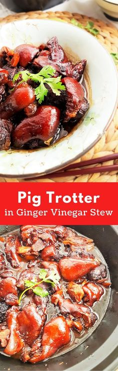 Pig trotter in ginger and black vinegar stew. A traditional Chinese confinement dish for postpartum women. Pork Recipes, Asian Recipes, Cooking Recipes, Savoury Recipes, Asian Foods, Chinese Recipes, What's Cooking, Pig Trotter Recipe, Pig Feet Recipe