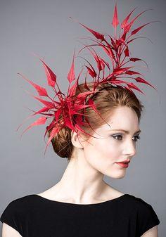 Rachel Trevor Morgan AW 2014 R14W10 - Red spike feathers headdress