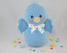 Crochet Stuffed Bird, Amigurumi Bird, Crochet Baby Bird, Crochet Blue Bird, Bird Plush by CROriginals