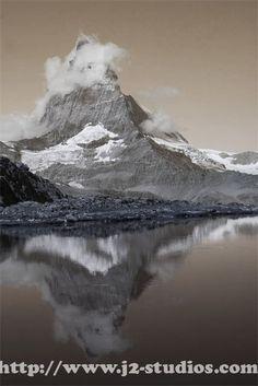 Matterhorn Reflections in Sepia
