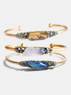 Crystal & Pyrite Bangle
