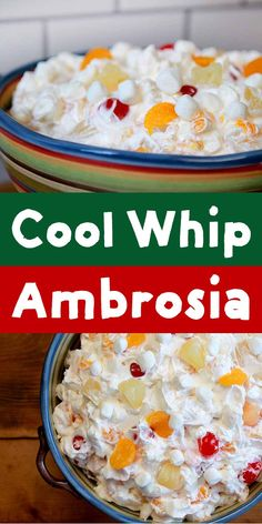 Easy Cool Whip Ambrosia Salad - Resolution Eats This recipe for Cool Whip Ambrosia Fruit Salad is about as quick as they come. If you have 6 minutes and 6 ingredients, you can mix up this simple but super delicious low calorie dessert. Fruit Salad Cool Whip, Jello Fruit Salads, Dessert Salads, Fruit Salad Recipes, Fluff Desserts, Cool Whip Desserts, Easy Desserts, Jello Recipes, Yogurt Recipes