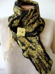 Felted scarf women yellow felt scarf handmade winter fashion