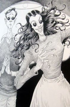 """You will always be safe with me"" by Chris Riddell from ""Coraline"" by Neil Gaiman. The Other Mother. This book scared me when I was young but it was so good I couldn't stop reading. Coraline Book, Dragons, Danse Macabre, Character Wallpaper, Gcse Art, Dark Art, Logs, Film, Light In The Dark"