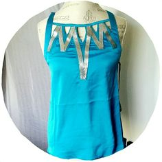 Caged Blue Embellished Dress Top Dress it up or down!! - silk like material - 100% polyester  - ruffle back - brand new!! A. Mullier Tops Blouses