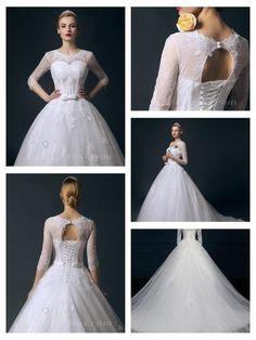 Illusion Three-Quarter Sleeves Bateau Neckline Ball Gown Wedding Dress