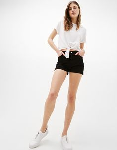 Discover this and many more items in Bershka with new products every week High Waisted Shorts, Casual Shorts, Bridal Blouse Designs, Cotton Shorts, Short Dresses, Denim, Western Union, Finland, Outfits