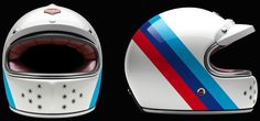 Les Ateliers Ruby is celebrating the anniversary of BMW Motorrad by presenting the exclusive 'Munich collection of helmets. The collection references the color scheme of BMW's most legendary motorcycles. This design, one of five, features a trip Ruby Helmets, Racing Helmets, Bmw Classic Cars, Classic Car Show, Cafe Racer Motorcycle, Motorcycle Helmets, Bmw Helmet, Bmw Scrambler, Vintage Helmet