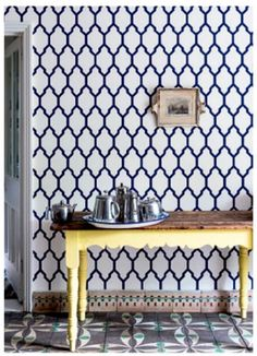a geometric print wallpaper demands to be admired- Farrow & Ball Kitchen Wallpaper, Home Wallpaper, Wallpaper Ideas, Graphic Wallpaper, Print Wallpaper, Farrow Ball, Drawing Room Blue, Dining Room Paint Colors, Paint Colours