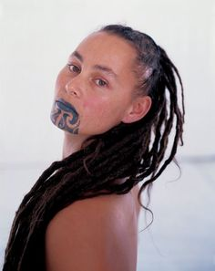 "Maori woman face tattoo called ""moko"" - Maori are indigenous people of New Zealand"