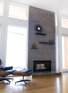 J Wood Tile makes an absolutely stunning fireplace.   Inspiration ...