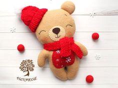 Шьем милую детскую игрушку из фетра «Новогодний Мишка» - Ярмарка Мастеров - ручная работа, handmade