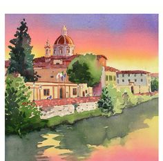 Sunset Art Watercolor Painting Print: Florence Italy Cathedral.   Etsy
