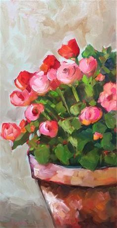Martha Lever Gallery of Original Fine Art - Oil Paintings Acrylic Flowers, Acrylic Art, Watercolor Flowers, Watercolor Paintings, Flowers In Vase Painting, Abstract Paintings, Art Paintings, Painting Art, Watercolors