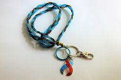 ID Badge Holder Lanyard Key Chain Key Ring Awareness Blue Red