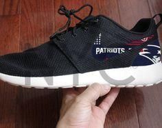 769a614cd3d4b Nike Roshe Run Grey White New England Patriots V5 by NYCustoms Patriots  Football Team