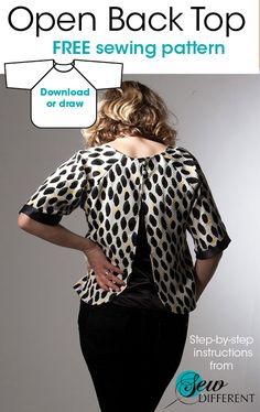 Free and easy sewing pattern - Open back top. PDF download or draw it yourself