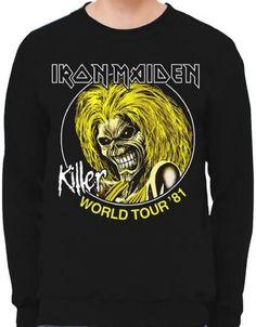 b110911f71e Iron Maiden Concert Sweatshirt - Iron Maiden Killer World Tour  81. Black  Vintage Concert