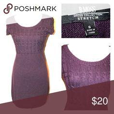 B. MOSS Dark Plum Sweater Dress Cable knit purple short sleeve sweater dress b. moss Dresses