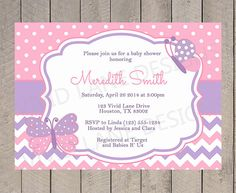 Pink and Purple Butterflies Baby Shower Printable Invitation, Butterfly, Girl Baby Shower Invite, Polka Dots, Chevron - 192 on Etsy, $18.00