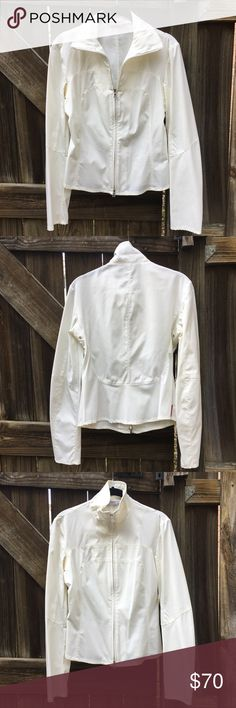 "AUTH. Prada White Collared Sports Jacket Full Zip Authentic Prada White Collared Sports Jacket full Zip. Size is in Italian sizing 40 which is equivalent to US size Small or 4. Made in Italy. 95% nylon and 5% elastic. Approximate measurements: Shoulder 17.5"", Chest 19"", Shoulder to hem 21.5"" and Arm 32"". Please note there are some faint stains/marks on the jacket (see pic) but overall it's in great condition. Please ask questions before purchasing. Prada Jackets & Coats"