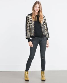 f59dd8f4b32 Image 1 of EMBROIDERED JACKET from Zara Embroidered Jacket