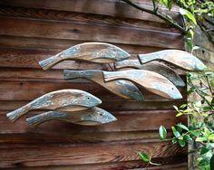"Rustic ""Diving Shoal of Fish"" Wooden Wall Art."