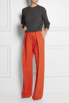 Preen by Thornton Bregazzi | Pleated wool-twill wide-leg pants | NET-A-PORTER.COM