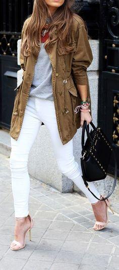 white denim + military jacket