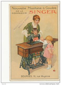 Pub Dessin Singer 16 Rue Moyenne Bourges Machine A Coudre Sewing Machine  - Bourges