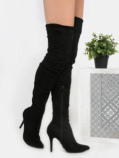 MakeMeChic - MAKEMECHIC Stiletto Pointy Toe Suede Boots BLACK - AdoreWe.com