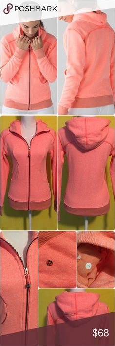 Lululemon On The Daily Hoodie Lululemon 'On The Daily Hoodie' in heathered grapefruit color, size 2, gently worn and in great condition with no flaws. A classic hoodie gets the premium treatment- designed with a relaxed fit to be your favorite post sweat piece. Blended Cotton Terry is breathable and soft against your skin. Large cozy hood, zipper garage helps keep your skin from getting chafed, thumbholes, 2 front pockets, elastic zipper pull can be used as an emergency hair tie. Relaxed…