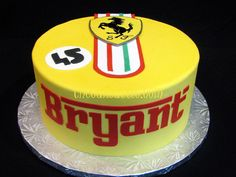 Ferrari fondant cake with logo. By thecakeattic.com in Salisbury, NC www.facebook.com/thecakeattic