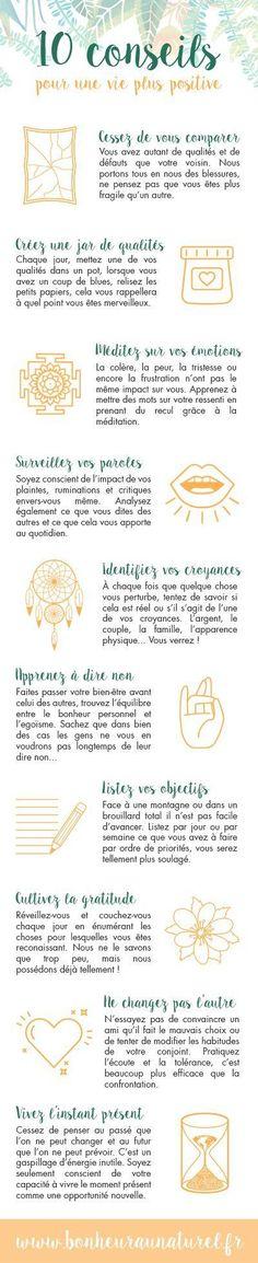 Infographie #2 : 10 conseils pour une vie plus positive - Bonheur au naturel