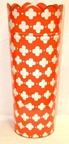 "Umbrella Stand ""Coptic Trellis Orange"" - eclectic - accessories and decor - by Jayes Studio Traditional Outdoor Decor, Cool Umbrellas, Ceramic Garden Stools, Hermes Orange, Quatrefoil Pattern, Singing In The Rain, Orange Crush, Displaying Collections, Trellis"