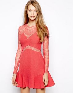 Red Long Sleeve Lace Mesh Hollow Dress