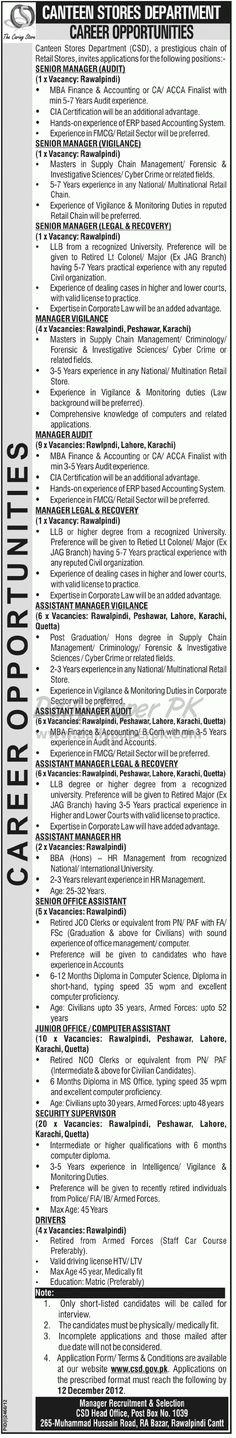 Career Opportunities, Canteen Stores Department Rawalpindi