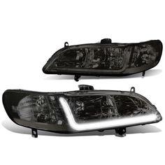 2f572b8374b5 For 98-02 Honda Accord LED DRL Light Bar Headlight Smoked Housing Clear  Corner Headlamp 99 00 01 Left+Right