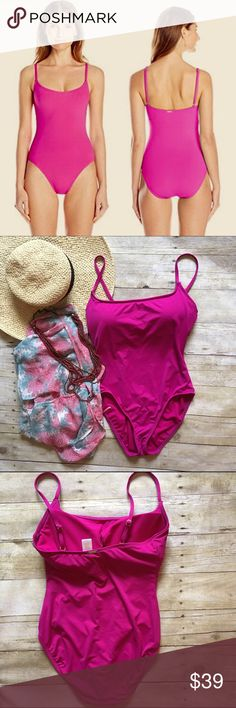 Anne Cole fuschia one piece swimsuit. Bias cut suit by Anne Cole. Adjustable straps. Padded bust for perfect shape (pads are removable). Gold hardware with gold signature nameplate on the back. In like new condition. This suit still retails online for $75+! Size 12. Anne Cole Swim One Pieces