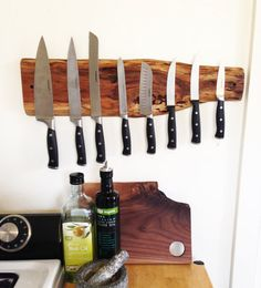 This beautiful knife rack is made from Cherry, Walnut or Maple wood. Ultra strong rare earth magnets are recessed into the wood to allow flush contact