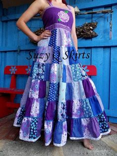 Lavender Blue Gypsy Halter Dress by SuzyQSkirts on Etsy, $129.00