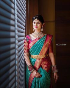 Our Extremely Valued client Setting the aesthetic diamond jewellery goals looking the most graceful and discerning always in treasured… Pattu Sarees Wedding, Designer Sarees Wedding, Wedding Silk Saree, Tamil Wedding, Wedding Bride, Wedding Ideas, Kanjivaram Sarees Silk, Indian Silk Sarees, Pattu Saree Blouse Designs