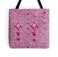 #PinkFauxGlitter #HeartDroplets #ToteBag by #MoonDreamsMusic #ValentinesDayStyle