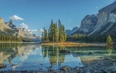 Spirit Island in the Canadian Rockies on an October afternoon.