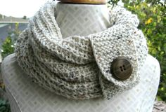 Knit oatmeal cowl with button boho by FairyTaleNightmares on Etsy