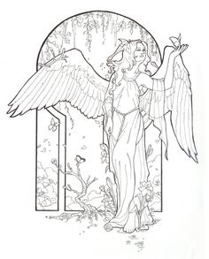 Spring Angel Line Art by =AngelaSasser on deviantART