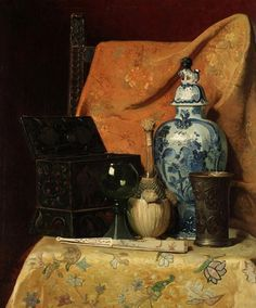 Axel Henrik Hulle (Swedish, 1846-1908) Oriental still life with fan, oil on canvas, 69 x 58,5 cm.