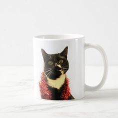 Christmas Cat Coffee Mug - black and white gifts unique special b&w style